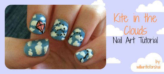 Kite In The Clouds Nail Art Tutorial Willwriteforchai