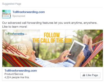 Facebook Ad - TollFreeForwarding.com